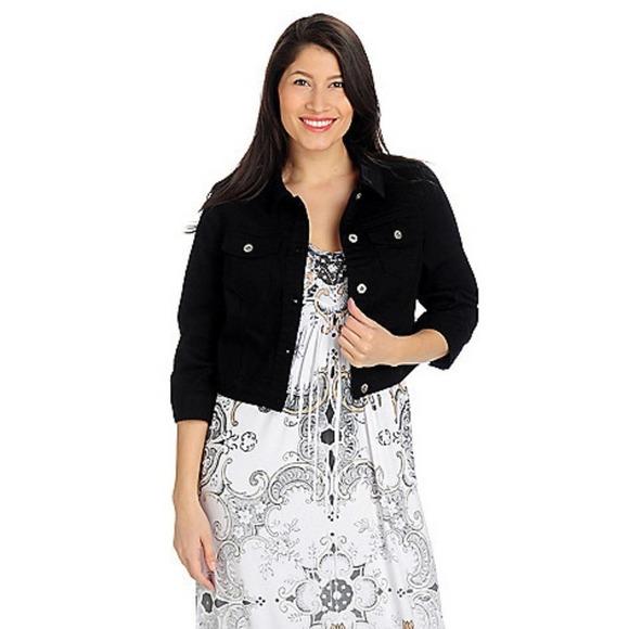 ONE WORLD Black Twill Denim Style Cropped Jacket M